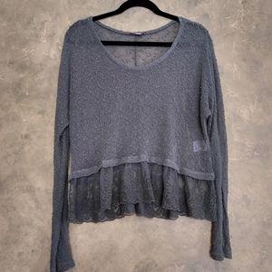 AE Pretty Knit + Lace Top